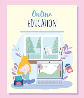 Online onderwijs, student meisje in huis met laptop, website en mobiele trainingen