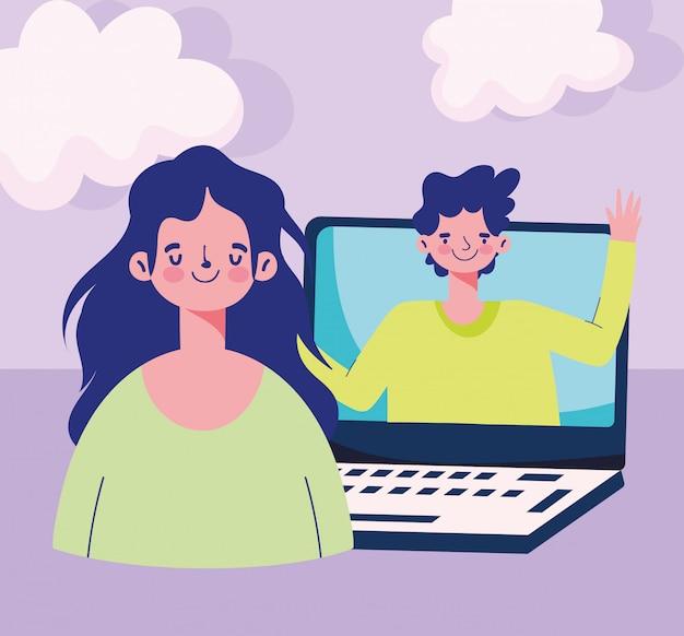 Online onderwijs, studentenmeisje en jongen in laptop digitale verbinding