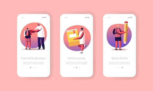 Online onderwijs, terug naar school mobiele app-pagina onboard-schermsjabloon