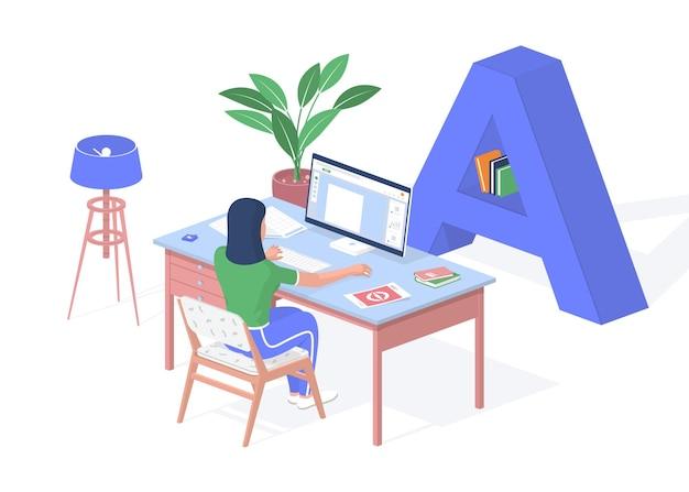 Online onderwijs thuis in quarantaine. de tiener zit bij computer die tekst vertaalt. stapels boeken notities op tafel. afstandsonderwijs met webvoorbereidingsexamens. vector realistische isometrie