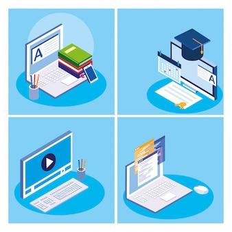 Online onderwijs vastgestelde pictogrammen