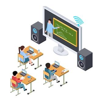Online onderwijs vector concept. internationale studenten en docent op het scherm