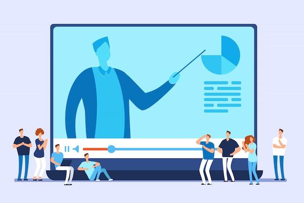 Online onderwijs. video tutorials, internet training en web cursus