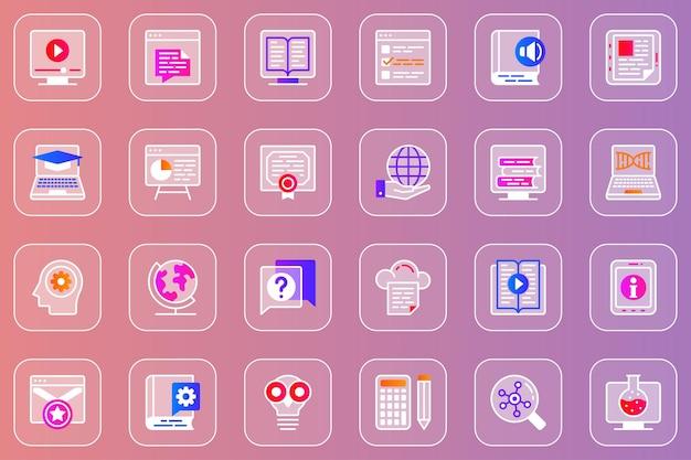 Online onderwijs web glassmorphic iconen set