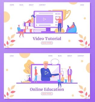 Online onderwijs web leren, universitaire studies landing webpagina's instellen illustratie.
