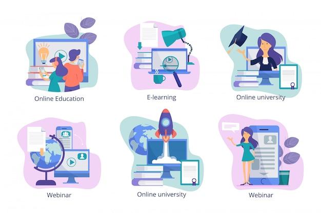 Online onderwijs. webstudie trainingen op afstand tutorials webinars en cursussen voor studenten van docenten conceptfoto's