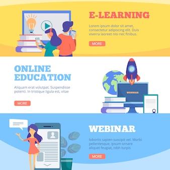 Online onderwijsbanners. webinar webschool conferentie e leren afstand cursussen platte afbeeldingen