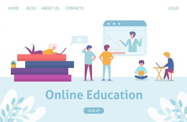 Online onderwijsconcept bedrijfsmensen die en, grote boeken met tablet sqreen en kleine mensen vlakke illustratie opleiden leren.