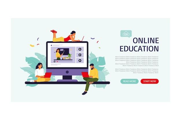 Online onderwijsconcept bestemmingspagina
