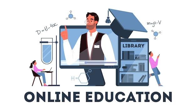 Online onderwijsconcept. digitale training en afstandsonderwijs. studeer op internet met behulp van de computer. video webinar. illustratie