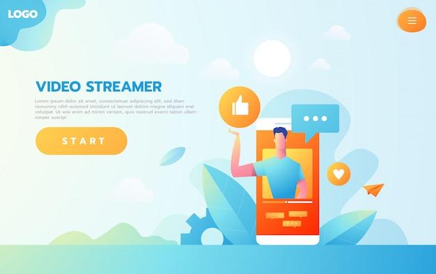 Online onderwijsconcept. e-learning met platte mensen doen streaming video cursus op computer.