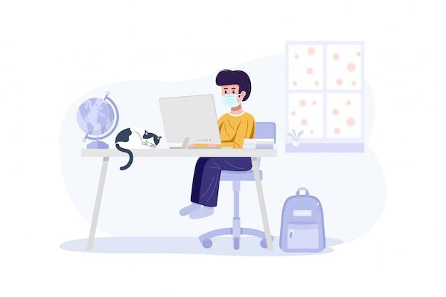 Online onderwijsconcept. een jongen die gezichtsmasker draagt en thuis met computer leert.