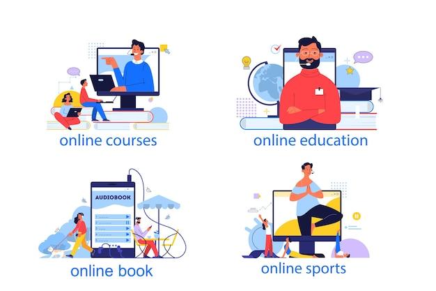 Online onderwijsconcept. idee van studie op afstand via internet. afstandsonderwijs, online cursussen, sporttraining, e-bibliotheek. set van illustratie