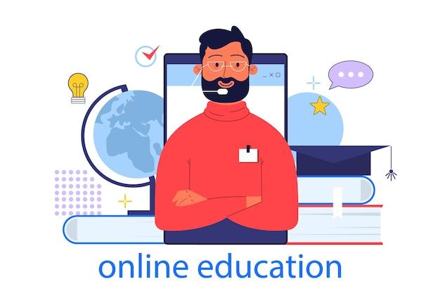 Online onderwijsconcept. idee van studie op afstand via internet. idee van e-learning en kennis, online cursussen. illustratie