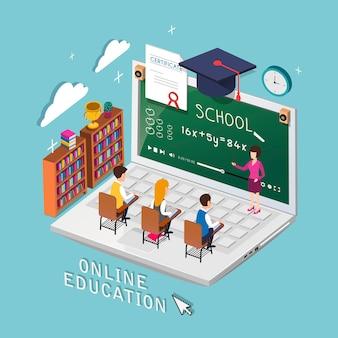 Online onderwijsconcept in 3d isometrisch vlak ontwerp