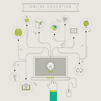 Online onderwijsconcept in dunne lijnstijl