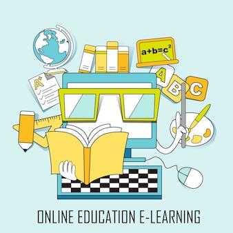 Online onderwijsconcept: leerelementen en computer in lijnstijl