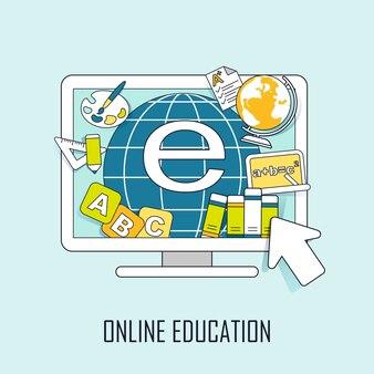 Online onderwijsconcept: leermiddelen die in lijnstijl uit de computer springen