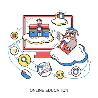 Online onderwijsconcept met een uil in lijnstijl