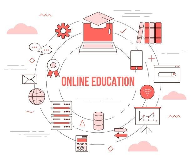 Online onderwijsconcept met illustratie vastgestelde sjabloon met moderne oranje kleurstijl