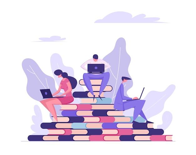 Online onderwijsconcept met mensen die boekenillustratie lezen