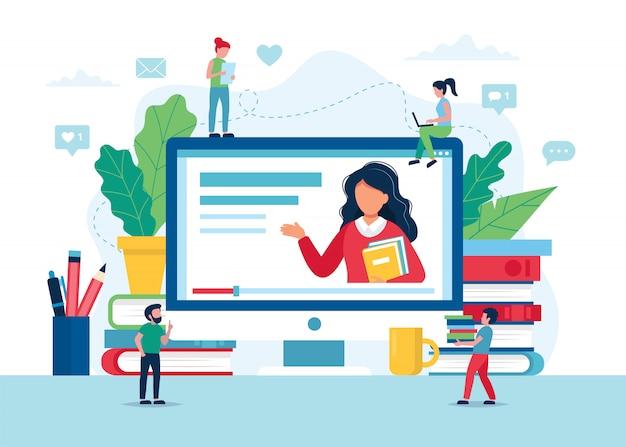 Online onderwijsconcept, scherm met leraar, boeken en potloden.