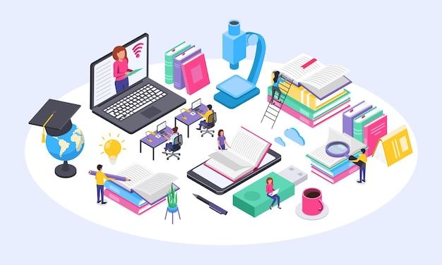 Online onderwijsconcept universitaire studenten die thuis studeren met behulp van computer isometrisch vectorconcept