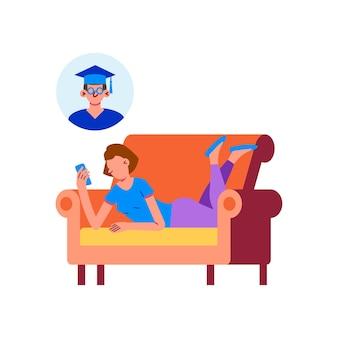 Online onderwijsillustratie met vrouw die op haar smartphone studeert terwijl ze op de bank ligt