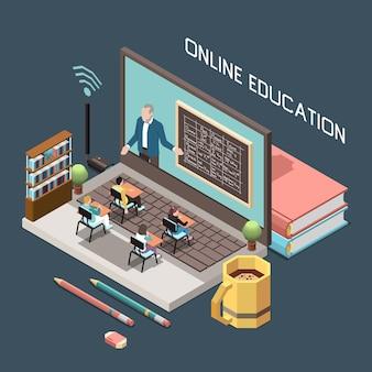 Online onderwijsontwerpconcept met docent op blackboard ob groot pc-scherm en kleine leerlingen zitten aan bureaus op groot toetsenbord isometrisch