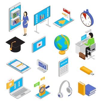 Online onderwijspictogrammen die met de isometrische geïsoleerde illustratie van kennissymbolen worden geplaatst