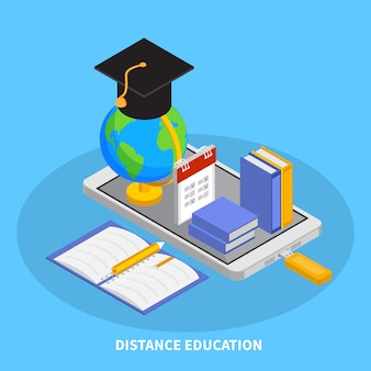 Online onderwijssamenstelling met de isometrische illustratie van onderwijssymbolen