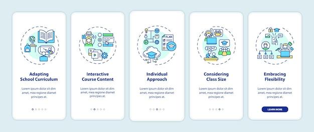 Online onderwijstips voor het onboarding van het scherm van de mobiele app met concepten. aanpassing van de doorloopstappen van het schoolcurriculum. ui-sjabloon met rgb-kleur