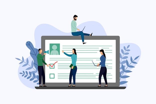 Online onderzoeksrapport, checklist, vragenlijst, bedrijfsconcept vectorillustratie