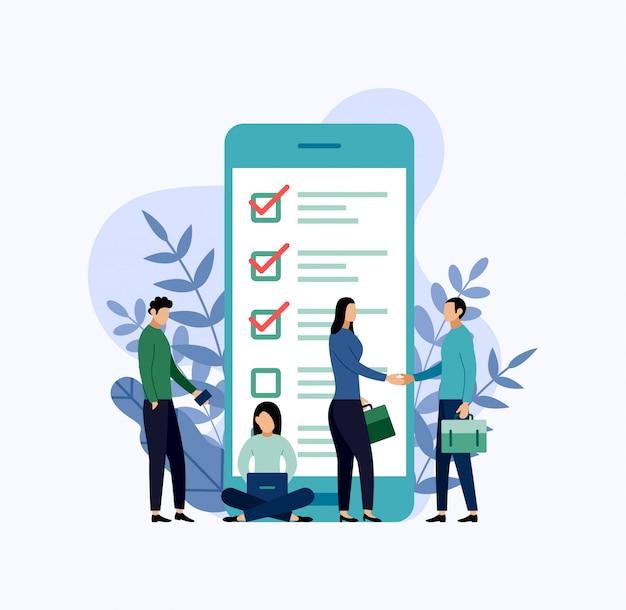 Online onderzoeksrapport, checklist, vragenlijst, business concept illustratie