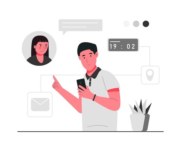 Online oproep voor een ontmoeting met iemand concept illustratie