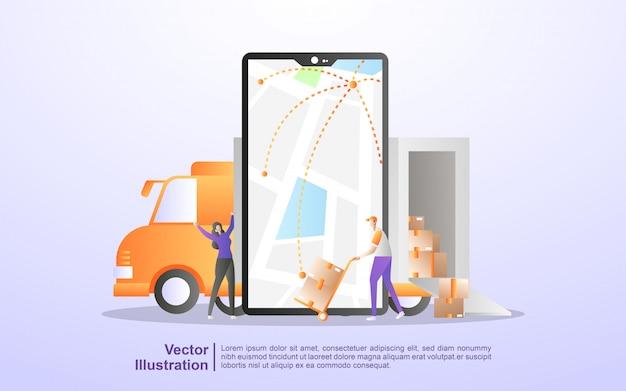 Online order tracking, levering thuis, gratis en snelle levering, online vracht, logistieke distributie