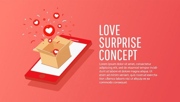 Online ordersamenstelling van isometrische smartphone met ambachtelijke papieren geheime geschenkdoos. online winkelen concept.