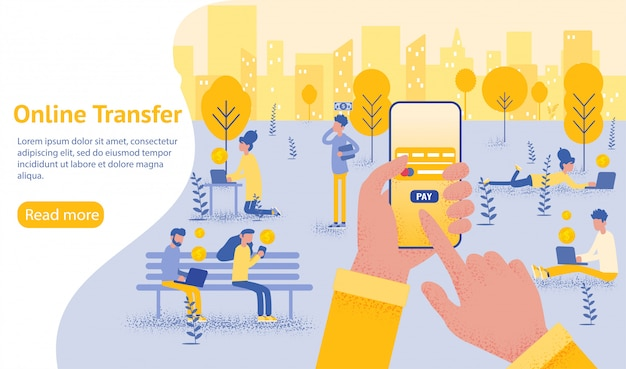 Online overdracht achtergrond met hand met smartphone en druk op verzendknop