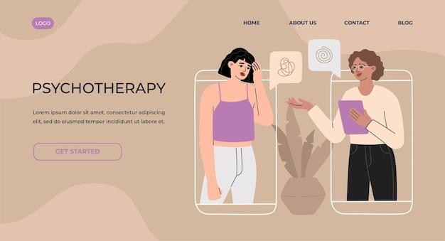 Online overleg met psychotherapeut via het concept van de bestemmingspagina van de telefoon