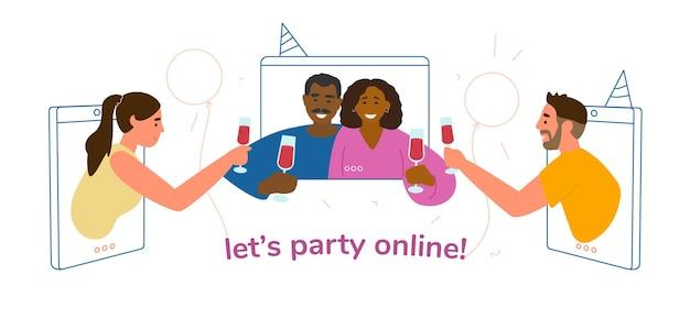 Online partij tijdens quarantaineconceptillustratie.