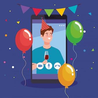 Online party, man heeft online party in quarantaine