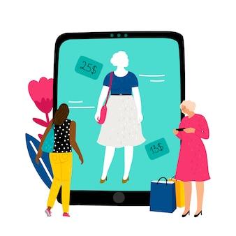 Online paskamer. het meisje kiest kleding in online opslag vectorillustratie