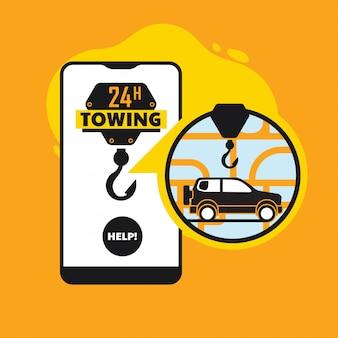 Online pechverhelping, mobiele app-concept voor het trekken van een auto