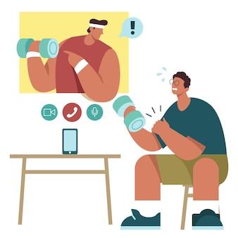 Online personal trainer illustratie concept