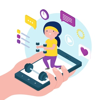 Online personal trainer illustratie thema