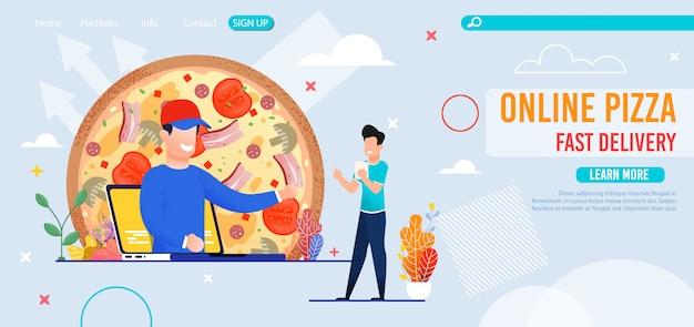 Online pizzeria met bestemmingspagina voor snelle levering