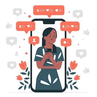 Online populariteit concept illustratie