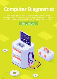 Online poster met auto engine computer diagnostics op moderne apparatuur