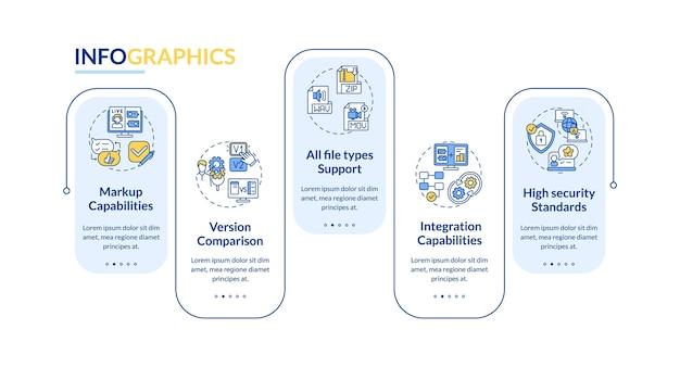 Online proofing tool aspecten vector infographic sjabloon
