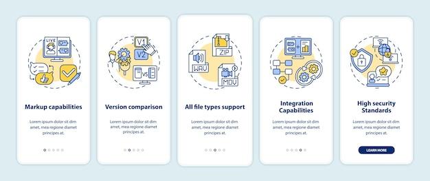 Online proofingsoftwarefuncties onboarding mobiele app-paginascherm met concepten